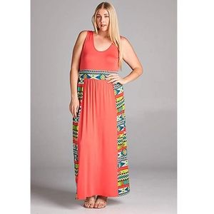 Plus Size Colorful Coral Tribal Aztec Summer Maxi